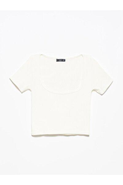 3666 U Yaka Kısa Kol Crop Top-beyaz