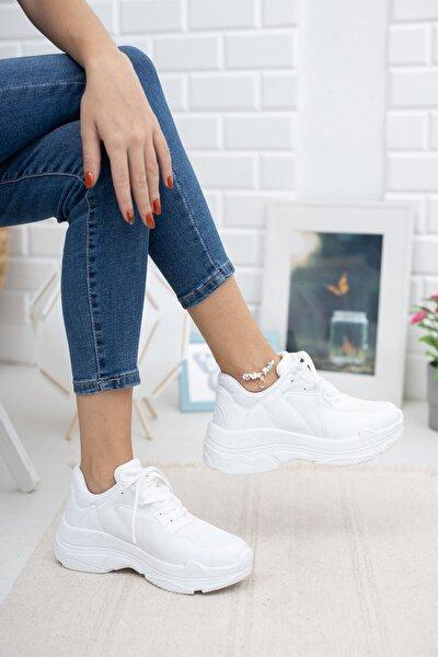 Kadın Beyaz Kalın Taban Sneaker