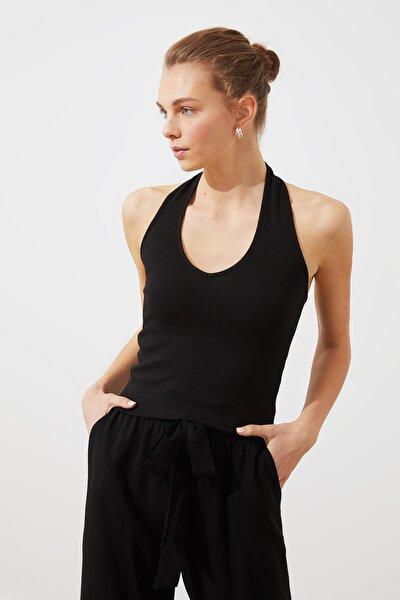 Siyah Fitilli Örme Bluz TWOSS20BZ1285