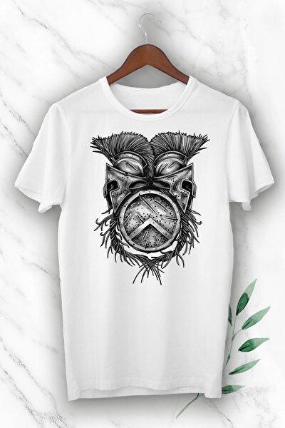 Unisex Beyaz Mitoloji Gladyatör Miğfer Baskılı Tişört