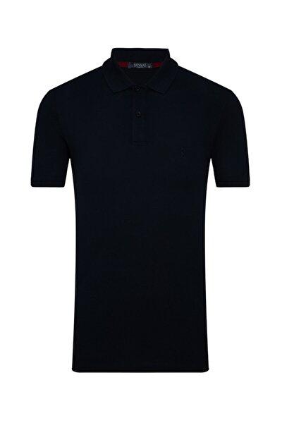 Erkek Lacivert  Slim Fit Polo Yaka Tişört