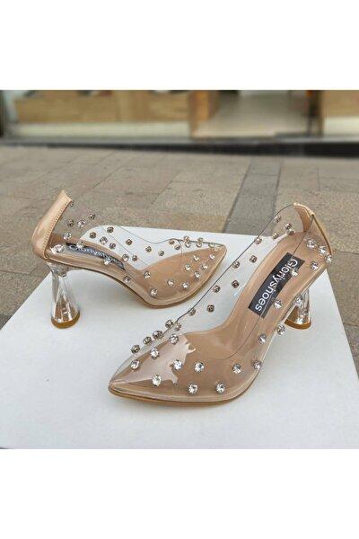 Kadın Şeffaf Taşlı Topuklu Ayakkabı 8 cm