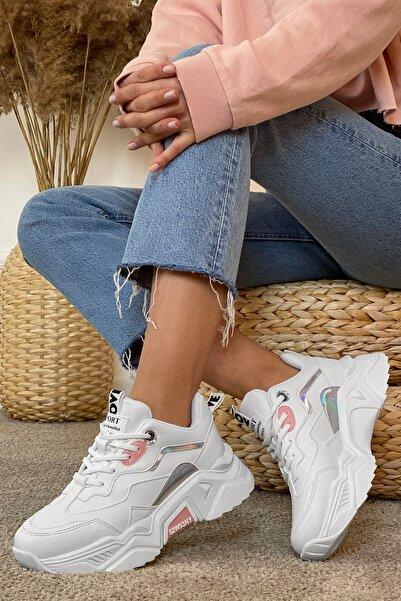Kadın Beyaz Pudra Sneaker