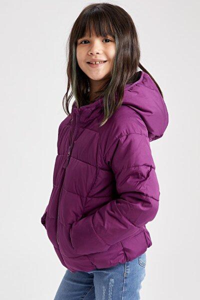 Kız Çocuk Mor Kapüşonlu Şişme Mont