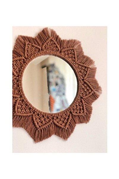 Kahverengi Kış Güneşi Makrome Ayna