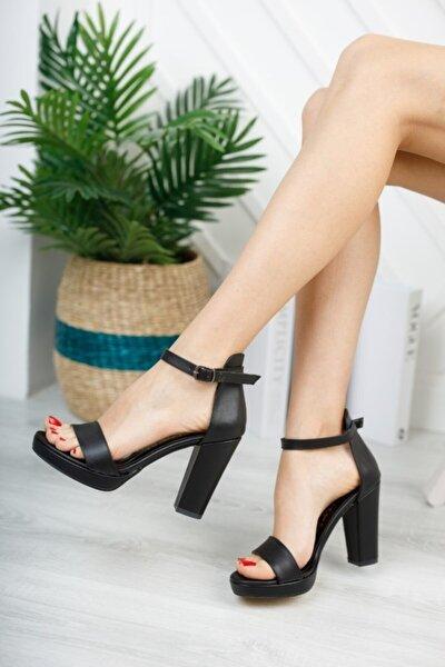 Kadın Siyah Platform Tek Bant Ayakkabı