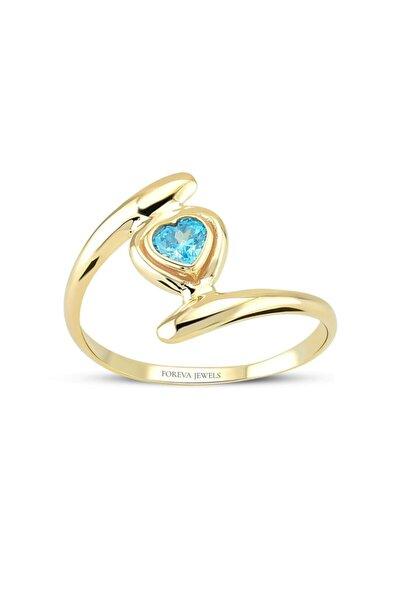 Kadın Mavi Taşlı Kalp Tasarımlı Altın Kaplama Yüzük 925 Ayar