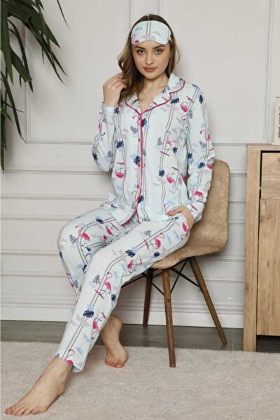 Kadın Yeşil Flamingo Desenli Önden Düğmeli Pamuklu Pijama Takımı