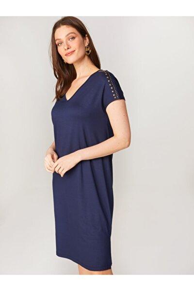 Kadın Lacivert Troklu Örme Elbise 00071