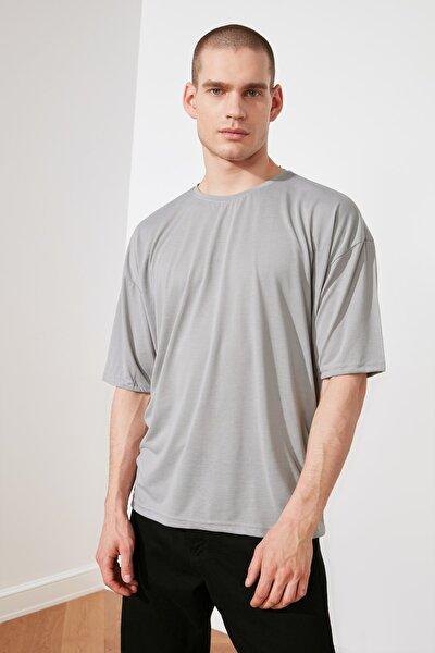 Füme Basic Erkek Oversize Bisiklet Yaka Kısa Kollu T-Shirt TMNSS21TS0811