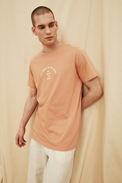 Kiremit Erkek %100 Organik Pamuk Long Fit T-Shirt TMNSS21TS1454