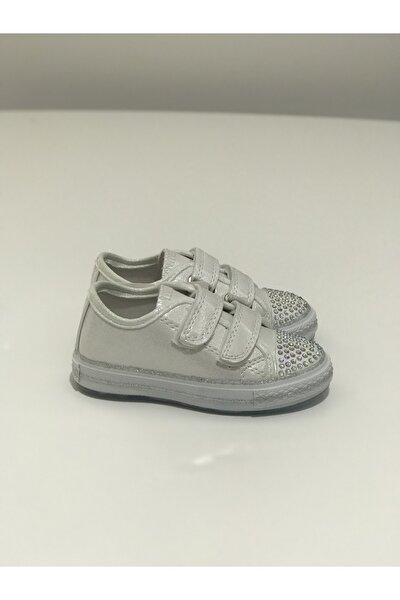 Kız Çocuk Beyaz Işıklı Cırtlı Ön Tarafı Taşlı Spor Ayakkabı