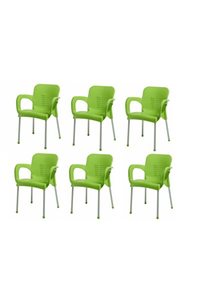 Plastik Sandalye 6 Adet Nobel Balkon Bahçe Kamp Mobilya (yeşil) Xömbx98