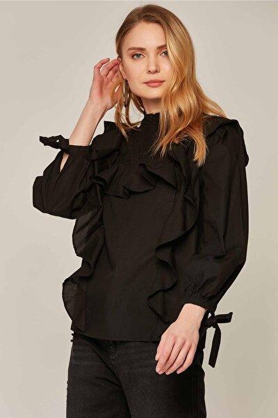 Kadın Fırfır Detaylı Bağlamalı Balon Kol Bluz 30862