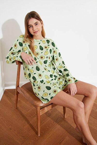 Yeşil Avokado Desenli Örme Pijama Takımı THMSS21PT0191