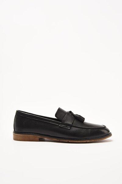 Hakiki Deri Siyah Erkek Loafer Ayakkabı 02AYH211110A100