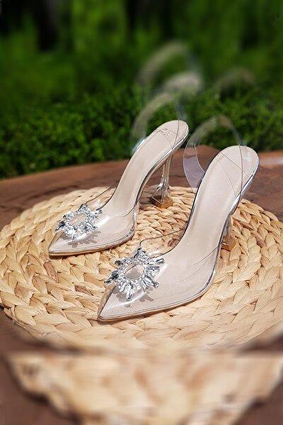 Kadın Şeffaf Açık Taşlı  Abiye Topuklu Ayakkabı