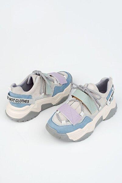 Kadın Mavi Sneaker Dolgu Topuklu Spor Ayakkabı Cakir