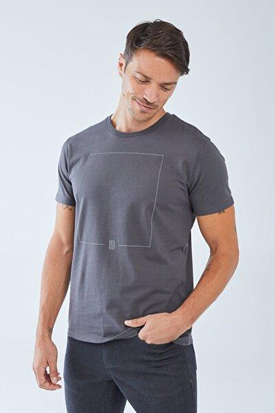 Erkek Antrasit Baskılı T-Shirt