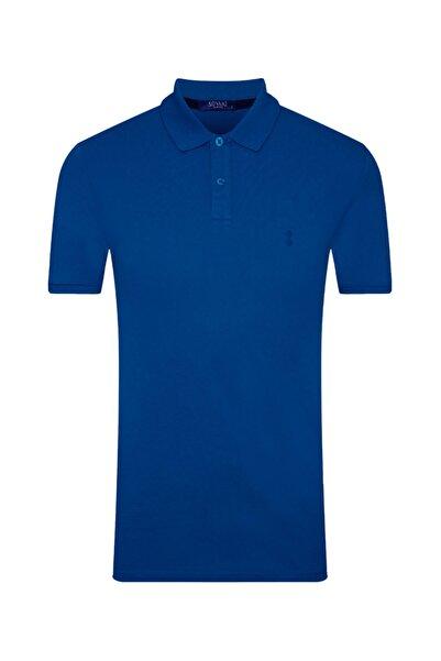 Erkek Mavi Slim Fit Polo Yaka T-shirt