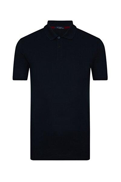 Bol Kesim Lacivert Polo Yaka Erkek Tişört