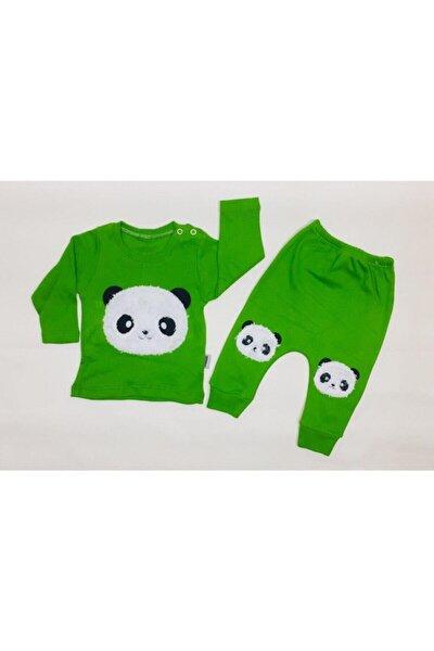 Erkek Bebek Yeşil Panda Nakışlı Takım
