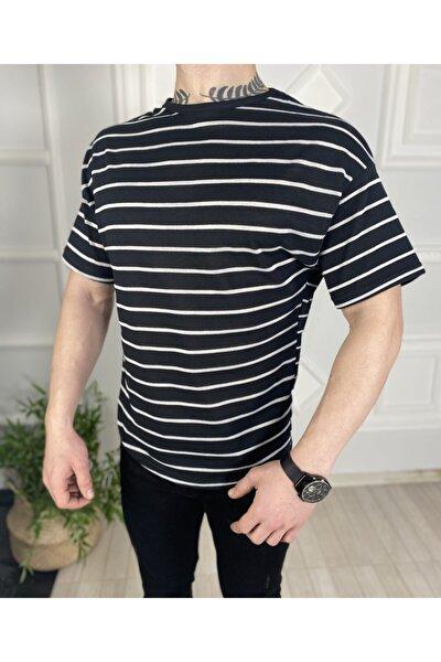 Erkek Siyah Çizgili Oversize T-Shirt