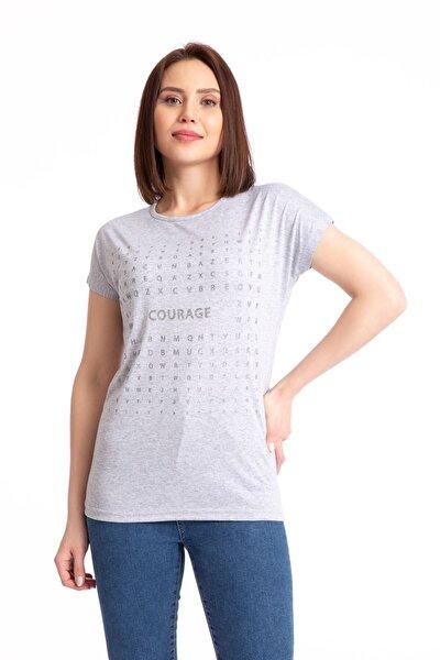 Kadın Gri Courage Sim Baskılı Salaş T-shirt 19318