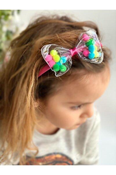 Kız Çocuk Renkli Ponpon Toplu Şeffaf Fiyonk Taç