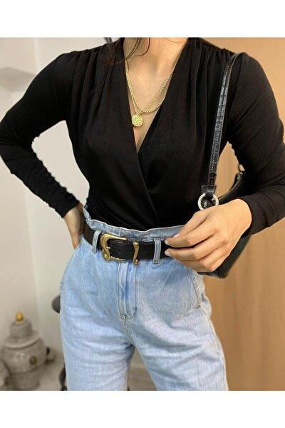Kadın Siyah Çıtçıtlı Body Suit Bluz