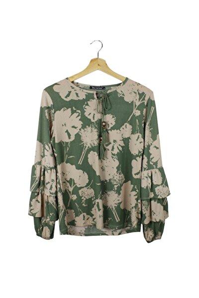Kadın Desenli Bluz/yeşil/m