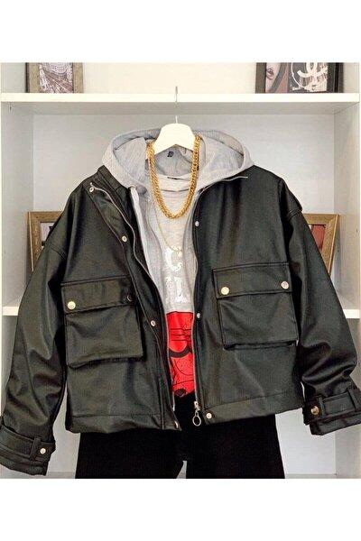Kapüşonlu Deri Ceket