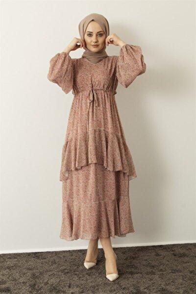 Kadın Pudra Çiçek Desenli Şifon Elbise