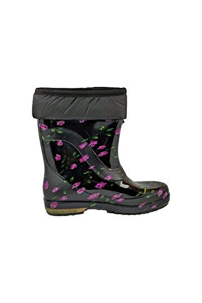 Mor Çiçekli Yünlü Çizme Kar & Yağmur Çizmesi