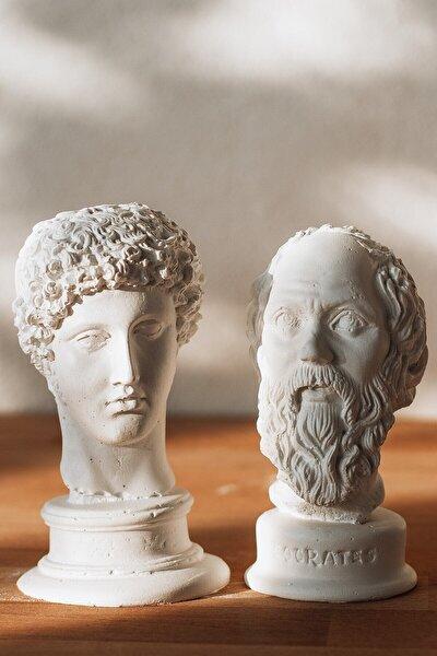 Beyaz Hermes + Socrates 2'li Heykel Büst