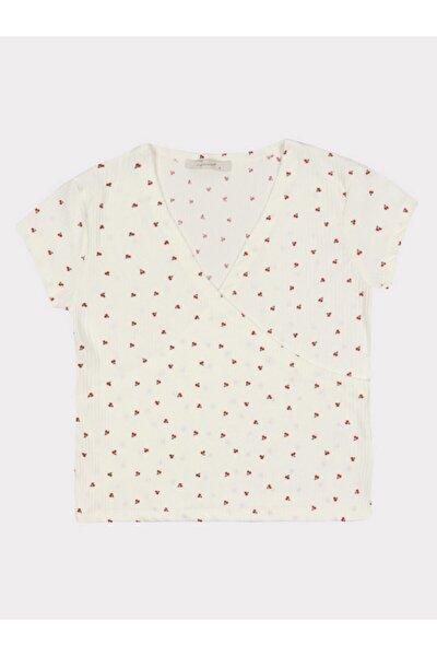 Kiraz Kruvaze Desenli Bluz