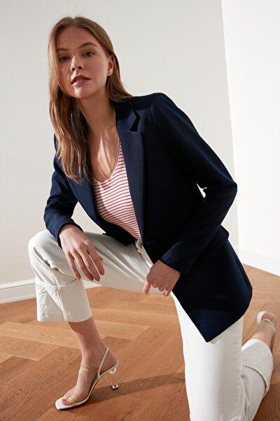 Lacivert Düğmeli Blazer Ceket TWOSS20CE0126