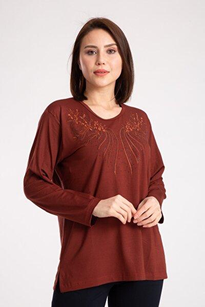 Kadın Kahverengi  Penye Bluz