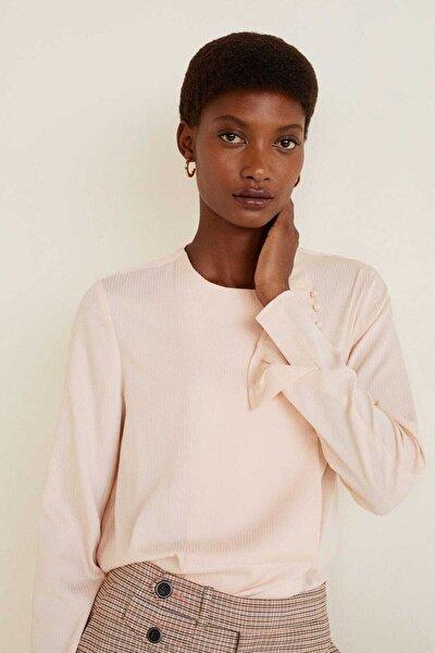 Kadın Açık Pembe Düğme Detaylı Bluz 41060642