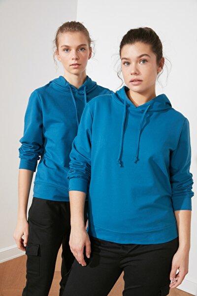 Petrol Kapüşonlu Basic  Örme Sweatshirt TWOAW20SW0059
