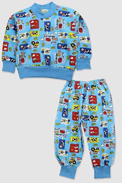 4 Mevsim Kız-erkek Çocuk Geniş Kalıp Az Jardonlu %100 Pamuk Baskılı Minik Pijama 11782