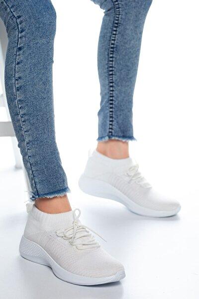 Kadın Beyaz Bağcıklı Çorap Sneaker