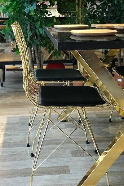X Ayak Gold Siyah Mermer + 4 Gold Tel Sandalye