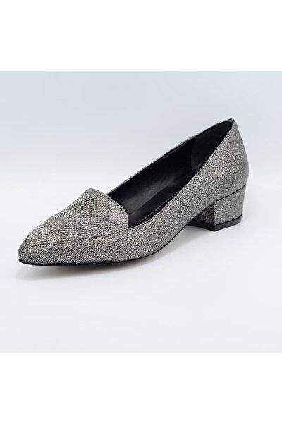 Kadın Gri Taşlı Stiletto Ayakkabı 446018