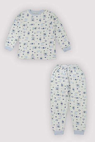 4 Mevsim Uniseks Çocuk Denizci Bask. %100 Pamuk Pijama Takımı 12108