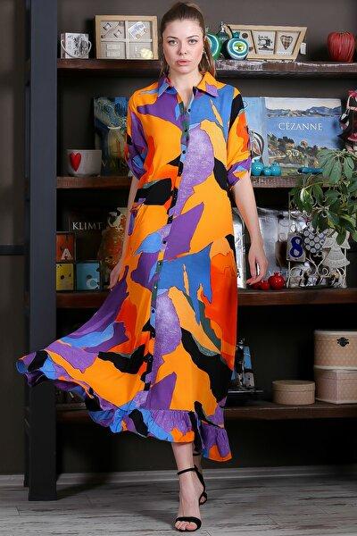 Kadın Turuncu-Mavi Kübist Desen Düğme Detaylı Etek Ucu Fırfırlı Uzun Gömlek Elbise M10160000EL95462