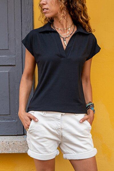 Kadın Siyah Polo Yaka Kaşkorse T-Shirt GK-BSTW2879