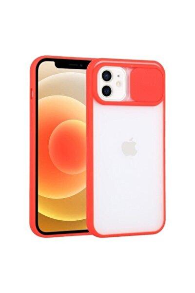 """Iphone 11 6.1"""" Uyumlu Kamera Lens Korumalı Sürgülü Kırmızı Kılıf"""