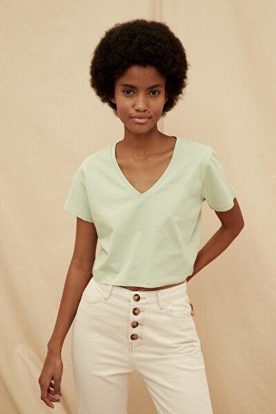 Mint %100 Organik Pamuk Crop Örme T-Shirt TWOSS21TS1438