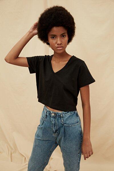 Siyah %100 Organik Pamuk Crop Örme T-Shirt TWOSS21TS1438